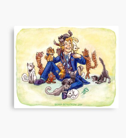 Doctor Mew? (The Sixth Doctor with Cats) Canvas Print