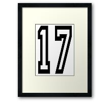 TEAM SPORTS, NUMBER 17, SEVENTEEN, SEVENTEENTH, ONE, SEVEN,Competition,  Framed Print