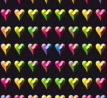 Rainbow Embossed Hearts Abstract One by ELVSmith03