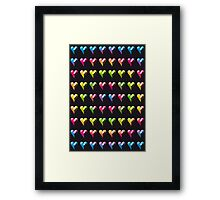 Rainbow Embossed Hearts Abstract One Framed Print