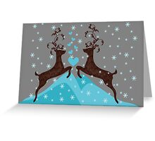 Love Deers in Snow Flakes for print cards and posters Greeting Card