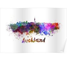 Auckland skyline in watercolor Poster