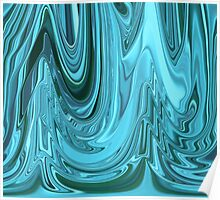 Chrome Style Shine Blue Green Teal Abstract Ripple Ribbon Design Pattern Poster