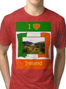 jGibney I Love Ireland 1999 Kerry Lake District Kerry Ireland Flag T-Shirt wb The MUSEUM Red Bubble Gifts Tri-blend T-Shirt