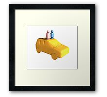 Married Peg People in a Car Framed Print