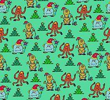 happy new year monsters pattern by ulyanaandreeva