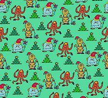happy new year monsters pattern by ulyanaandreeva