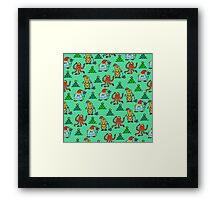 happy new year monsters pattern Framed Print