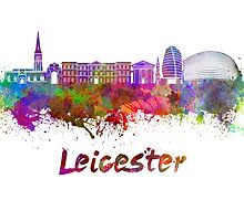 Leicester skyline in watercolor  by paulrommer