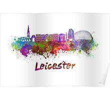 Leicester skyline in watercolor  Poster
