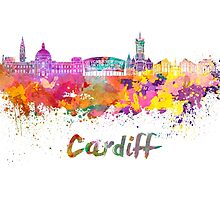 Cardiff skyline in watercolor by paulrommer