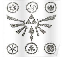 swirly zelda hyrule symbol Poster