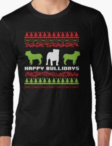 Funny 'Happy Bullidays' Bulldog Ugly Christmas Sweater-Style Shirts and Gifts T-Shirt