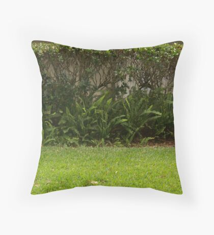Green Shrubs Throw Pillow