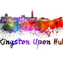Kingston Upon Hull skyline in watercolor by paulrommer