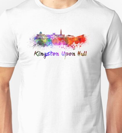 Kingston Upon Hull skyline in watercolor Unisex T-Shirt