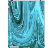 Chrome Style Shine Blue Green Teal Abstract Ripple Ribbon Design Pattern iPad Case/Skin