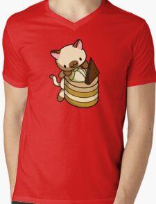 Canelle Apple Kitty Mens V-Neck T-Shirt