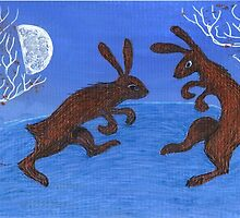 Boxing Hares by Vicky Stonebridge