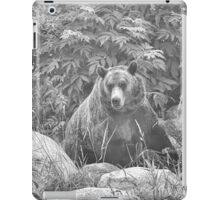 Grizzly in the Mist - Black & White iPad Case/Skin