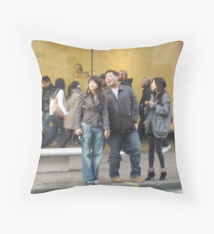 Laughing in Oxford Street Throw Pillow
