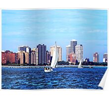 Chicago IL - Two Sailboats Against Chicago Skyline Poster