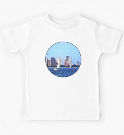 Chicago IL - Two Sailboats Against Chicago Skyline Kids Tee