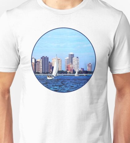 Chicago IL - Two Sailboats Against Chicago Skyline Unisex T-Shirt