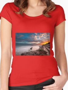 Sunset Walking  Women's Fitted Scoop T-Shirt