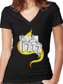 Procrastinate - flame drop Women's Fitted V-Neck T-Shirt