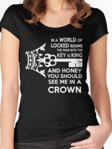 Moriarty Key Quote - White Text Women's Fitted Scoop T-Shirt