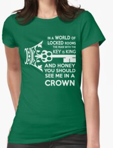 Moriarty Key Quote - White Text Womens Fitted T-Shirt