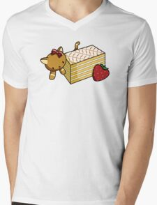 Mille Feuille Kitty Mens V-Neck T-Shirt