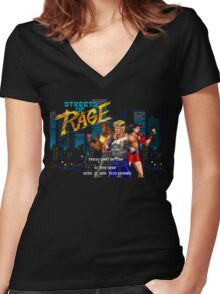 Streets of Rage (Genesis) Title Screen Women's Fitted V-Neck T-Shirt