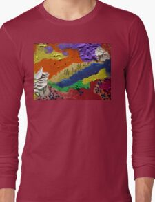 Alberta Canada abstract collage Long Sleeve T-Shirt