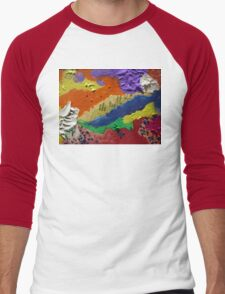Alberta Canada abstract collage Men's Baseball ¾ T-Shirt