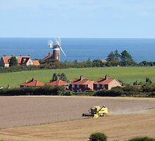 A Windmill, the Sea, a Combine Harvester, Norfolk landscape by johnny2sheds