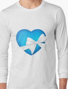 Valentine Blue Heart Long Sleeve T-Shirt