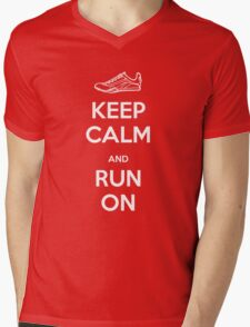 Keep Calm and Run On Mens V-Neck T-Shirt