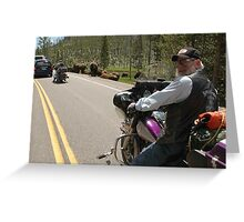 Yellowstone Bikers and Buffalo Greeting Card