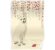 White Cat Red Mouse Poster