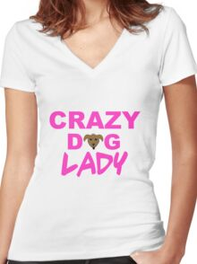 crazy dog lady, dogs, funny Women's Fitted V-Neck T-Shirt
