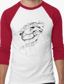 Your Heart Is A Muscle Reverse  Men's Baseball ¾ T-Shirt