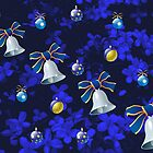 Four Bells Christmas Card in Blue by kathrynsgallery