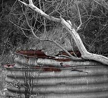 Rusty water tank by Karen Gough