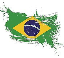 Brazil Flag Brush Splatter by DCornel