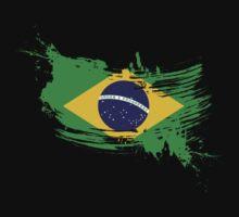 Brazil Flag Brush Splatter One Piece - Short Sleeve