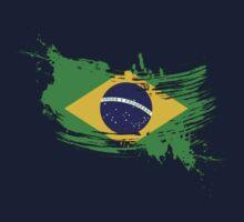 Brazil Flag Brush Splatter Kids Tee