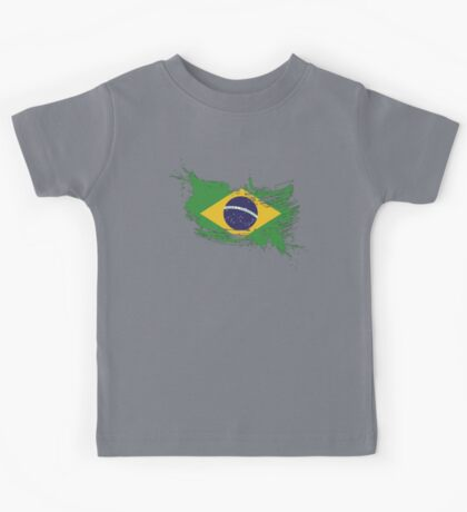 Brazil Flag Brush Splatter Kids Tee