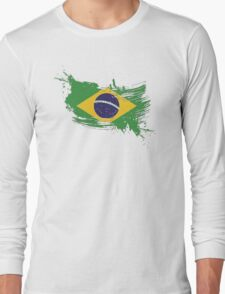 Brazil Flag Brush Splatter Long Sleeve T-Shirt